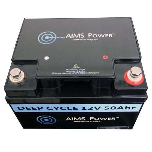 Aims LFP12V50A 50A LifePO4 Battery Top
